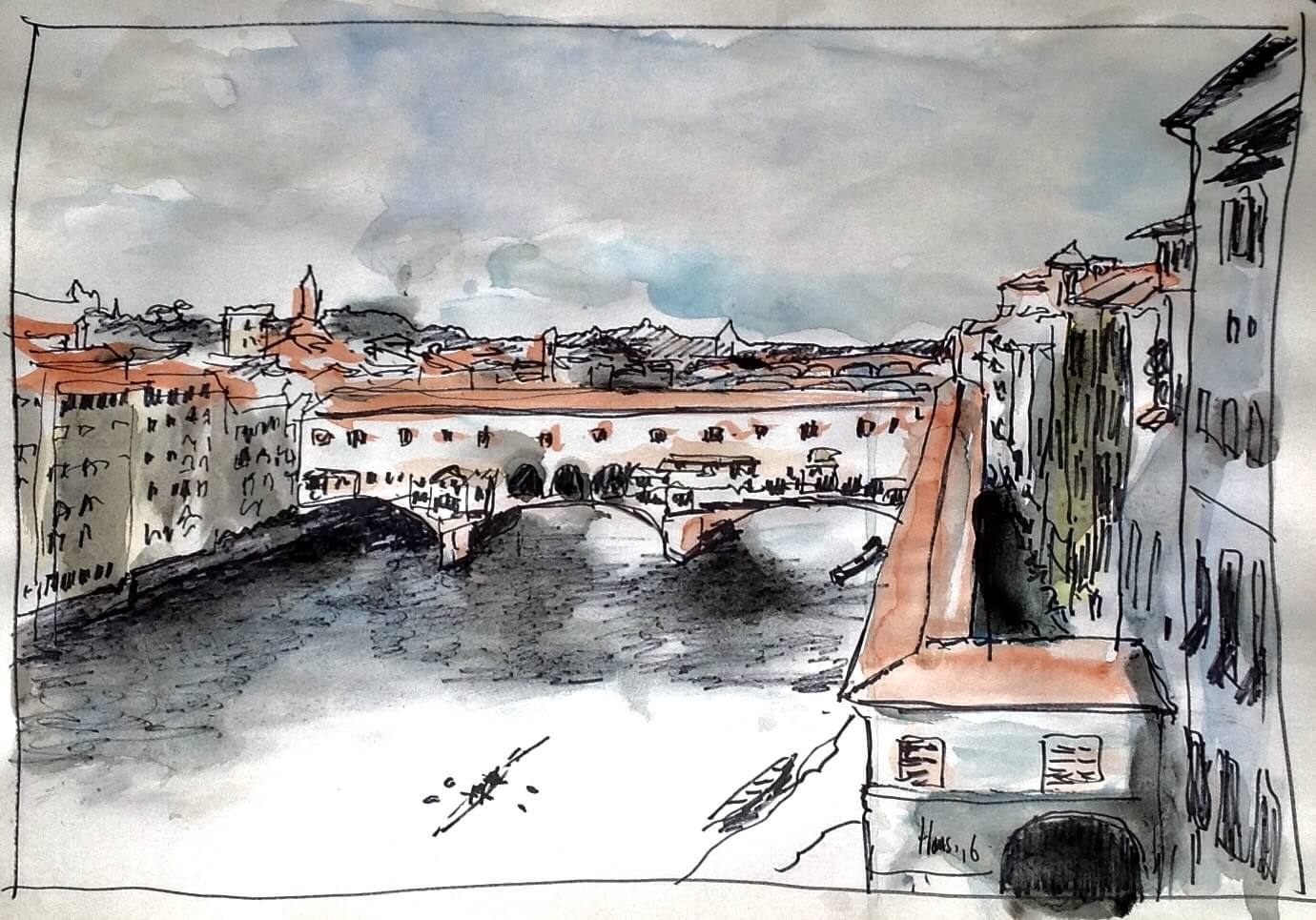 the arno from the uffici